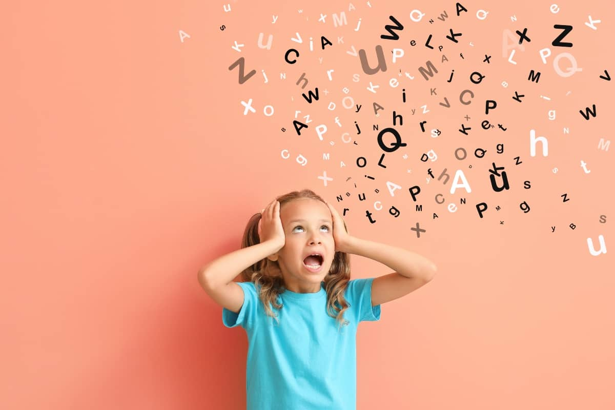 A child with signs of dyslexia
