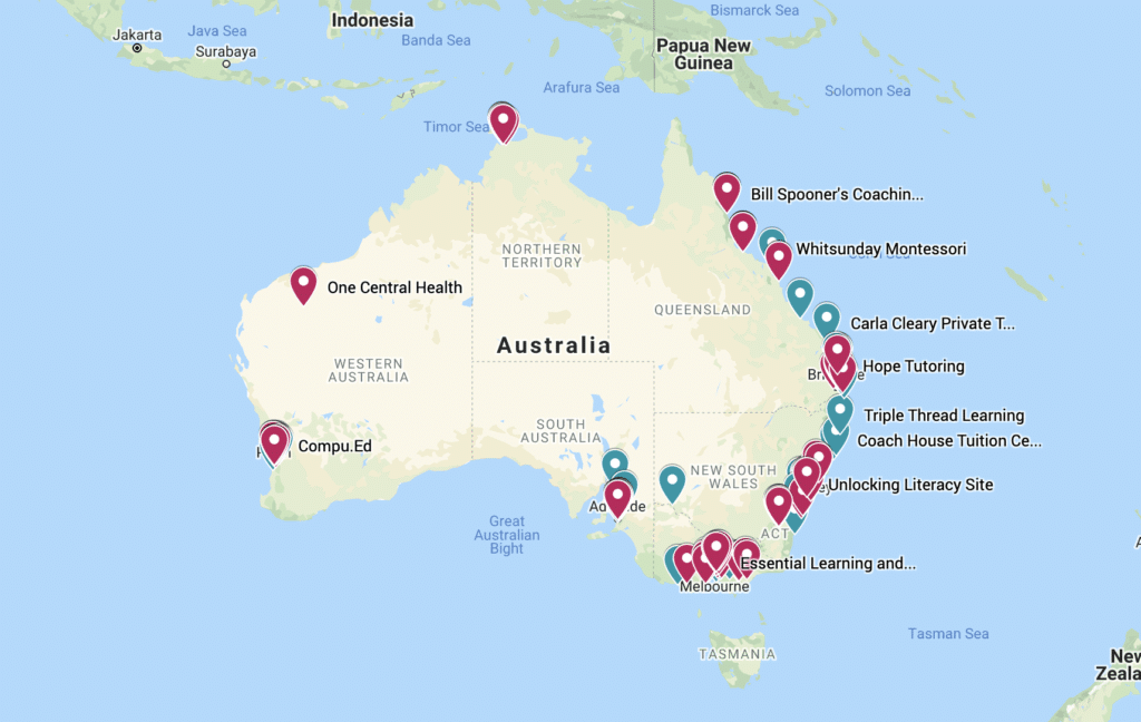 Map of organisations providing reading support in Australia